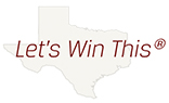 Texas map displaying text Let's win this