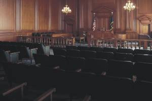 empty chairs in courtroom
