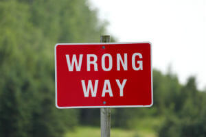 sign for wrong way
