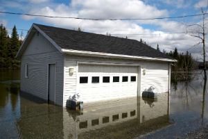flooded house and garage